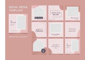 puzle de plantilla de mujer de moda de publicación de redes sociales vector