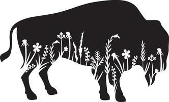 American bison floral vector illustration