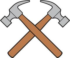 Crossed hammers color vector illustration
