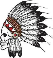 Native American Indian Chief Skull Vector Illustration