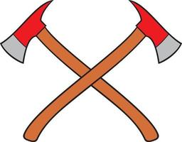 Firefighter crossed axes vector