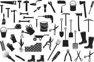 conjunto de iconos de herramientas de jardín vector