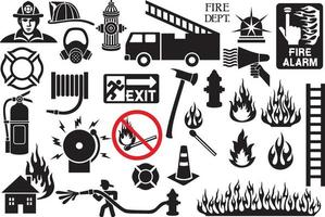 firefighter icons and symbols collection vector