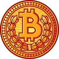 bitcoin golden coin vector