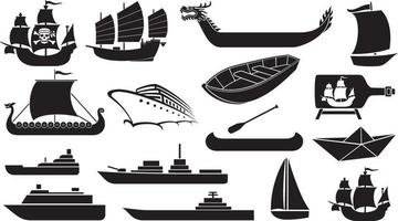 boat ship icons vector