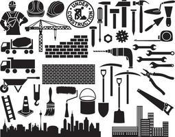 conjunto de iconos de construcción vector