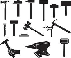 Hammers icons set - black silhouettes vector