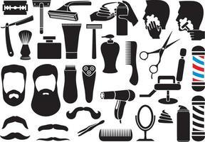 barber salon or shop vector icons set