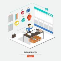 blogger working illustrations vector