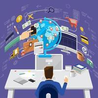 Illustrations working desktop digital marketing vector