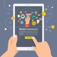 solución empresarial online comercio móvil vector