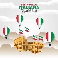 cartel del día de la república de italia con el coliseo vector