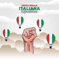 cartel del día de la república de italia con puño vector