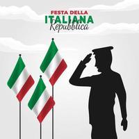 cartel del día de la república de italia con bandera y soldado vector