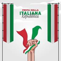 ilustración vectorial del cartel de la festa della repubblica italiana vector