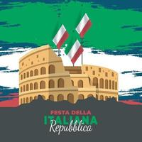 Republic Day of Italy poster with colosseum vector