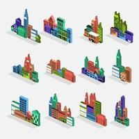 set vector city isometric