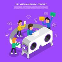 Flat design concept brainstorm working on desktop icon VR. Vector illustrate.