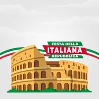 Italian Republic Day poster with colosseum vector