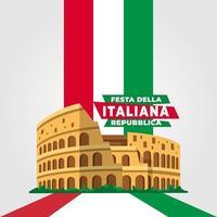 cartel del día de la república italiana con el coliseo vector