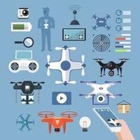 Icon set vector drones