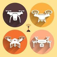 Drones vector illustrations set