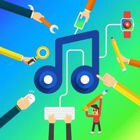 ilustración de música de marketing digital vector