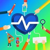 mano crear corazón vector