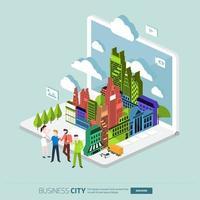 ciudad de negocios de ilustraciones isométricas vector
