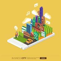 ciudad de negocios isométrica móvil vector