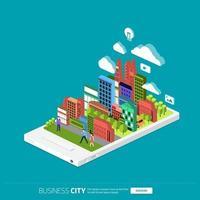 negocio isométrico de la ciudad móvil vector