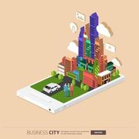 ciudad de negocios isométrica en el móvil vector