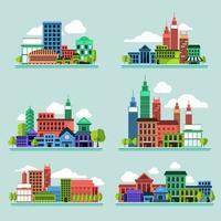 elemento de ciudad de conjunto de iconos vector