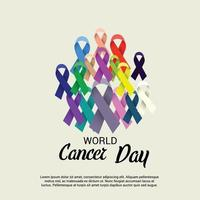 World Cancer Day Awareness banner with Ribbons vector