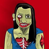 Zombie woman illustrations vector