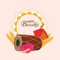 Happy vaisakhi flat design concept and background vector