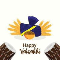 Happy vaisakhi flat design concept and background