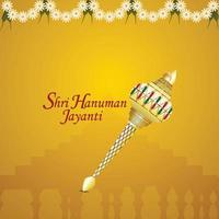 Shri hanuman jayanti celebration greeting card with lord hanuman weapon vector