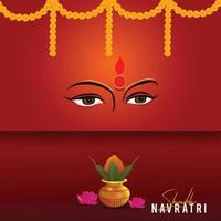 Happy navratri celebration with lights and flowers vector
