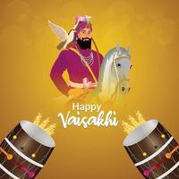 Realistic illustration of happy vaisakhi festival background vector