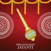 Vector illustration of lord hanuman weapon and garland flower on red flower