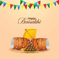 Vaisakhi vector illustration and background with colorful flag and drum