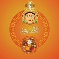 Happy Navratri Celebration Design with goddess durga illustration and background vector