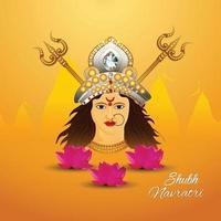 Shubh navratri indian festival celebration greeting card with Goddess durga illustration vector