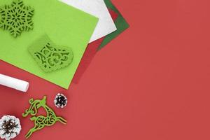 Red and green Christmas crafting supplies photo