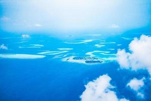 Aerial view of maldives island photo