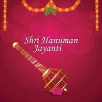 tarjeta de felicitación de celebración de shri hanuman jayanti con arma de señor hanuman vector