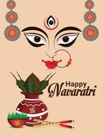 Happy navratri indian festival greeting card , Navratri flat design concept vector