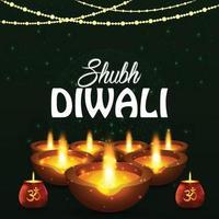 Happy diwali festival of light greeting card with creative diwali diya and lantern vector