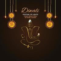 Creative illustration of happy diwali celebration  greeting card with Golden ganesha illustration vector